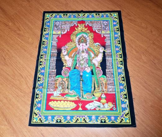 panô de Ganesha de tecido feito na Índia 75cm de altura