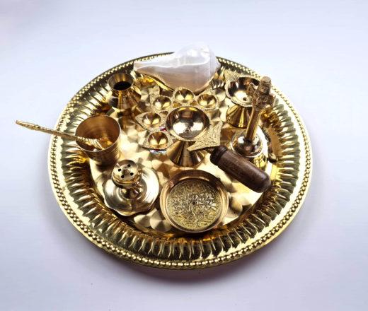 Prato de Puja (pooja) com 10 peças