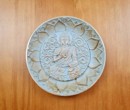 incensário indiano redondo de Buda 12cm verde claro com dourado