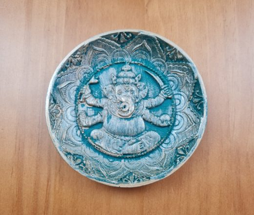 incensário redondo de resina com Deus Ganesha