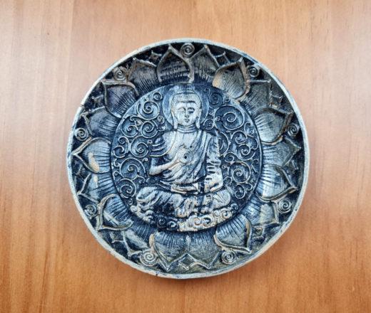 incensário indiano redondo de Buda 12cm preto com dourado