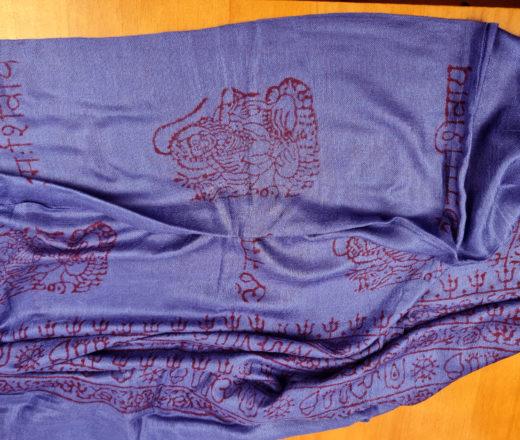 chadar de oração Krishna com mantras azul