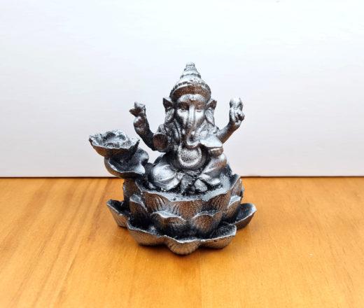 incensário cascata de Ganesha em resina pintura metálica prateada