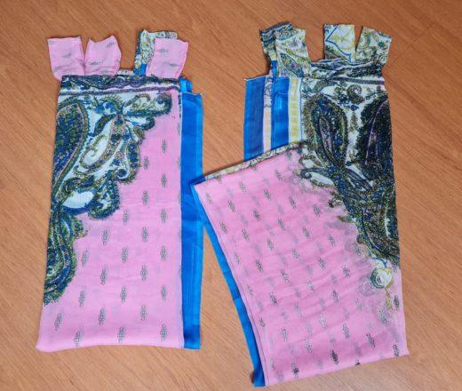 cortina de sari indiano rosa e azul